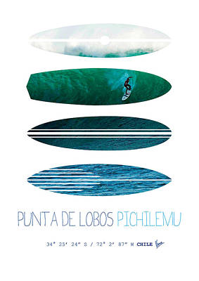 Baja Digital Art - My Surfspots Poster-3-punta De Lobos-chile by Chungkong Art