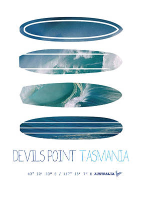 Surfer Digital Art - My Surfspots Poster-5-devils-point-tasmania by Chungkong Art