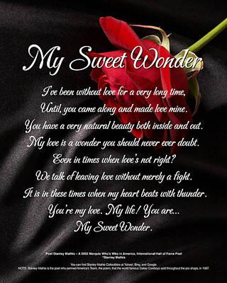 Digital Art - My Sweet Wonder Poetry Art by Stanley Mathis