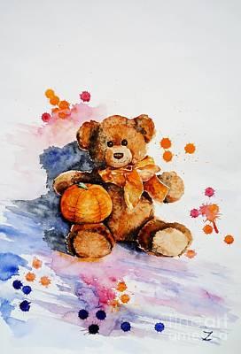 Painting - My Teddy Bear  by Zaira Dzhaubaeva