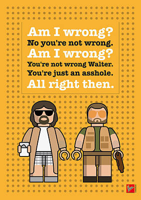 Jeff Digital Art - My The Big Lebowski Lego Dialogue Poster by Chungkong Art