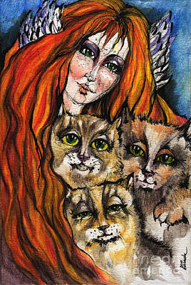 My Three Cats Art Print by Angel  Tarantella