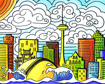Naive Art Painting - My Toronto by Oiyee At Oystudio