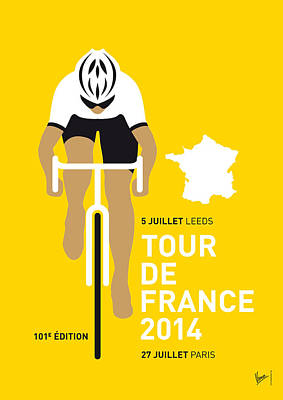 Bicycling Digital Art - My Tour De France Minimal Poster 2014 by Chungkong Art