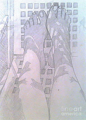 Drawing - My Two Feet by Michelle Deyna-Hayward