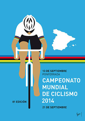 Bicycling Digital Art - My Uci Road World Championships Minimal Poster 2014 by Chungkong Art