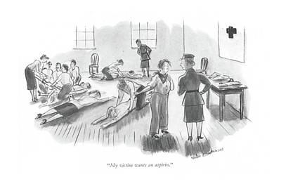 Relief Drawing - My Victim Wants An Aspirin by Helen E. Hokinson