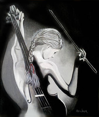 Woman Playing Violin Painting - My Voilin by Jose Manuel Abraham