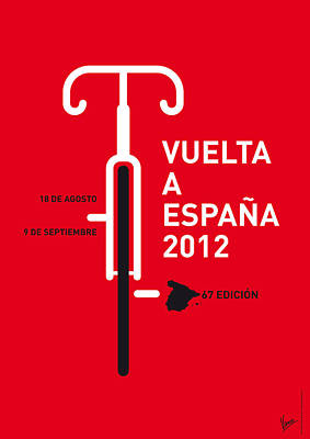 Cycling Digital Art - My Vuelta A Espana Minimal Poster by Chungkong Art