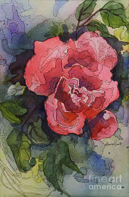 Single Red Rose Painting - Oh Glorious, Radiant Rose by Maria Hunt