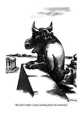 Minotaur Drawing - My Wish Is Simple - To Give Something Back by Eldon Dedin