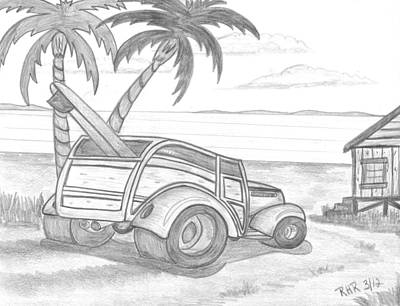 Shack Drawing - My Woody by Ray Ratzlaff