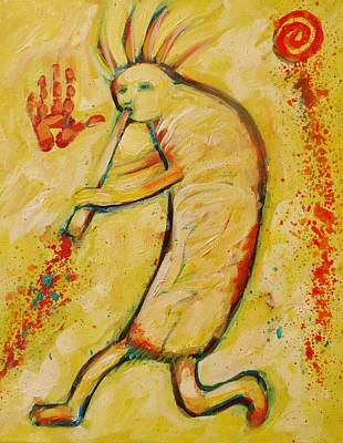 Painting - My Yellow Kokopelli by Carol Suzanne Niebuhr