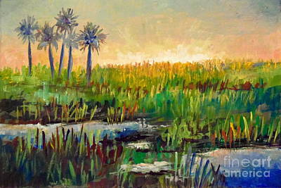 Painting - Myakka Lake Sunrise by Lou Ann Bagnall