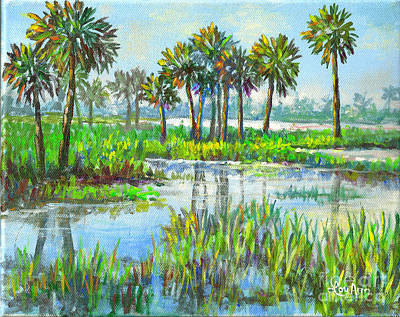 Catch Of The Day - Myakka Lake with Palms by Lou Ann Bagnall