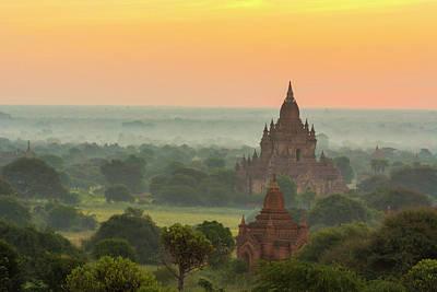 Burma Photograph - Myanmar Bagan Smoke From Cooking Fires by Inger Hogstrom