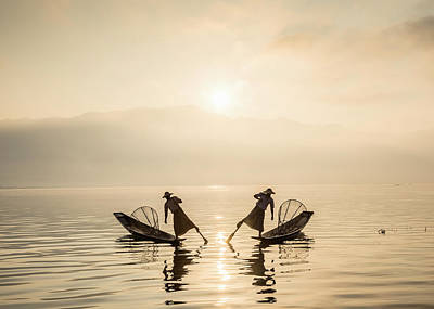 Photograph - Myanmar, Fishermen On Inle Lake At by Martin Puddy