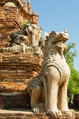 Burmese Photograph - Myanmar Mandalay Inwa Red Brick Stupa by Inger Hogstrom