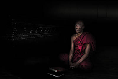 Praying Photograph - Myanmar - Meditation by Michael Jurek