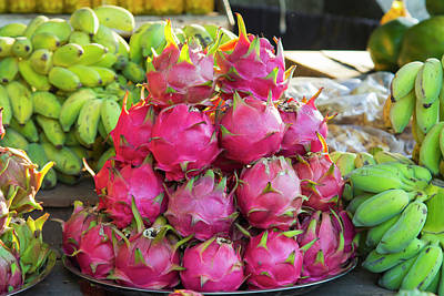 Tropical Fruit Photograph - Myanmar Mt Popa Dragon Fruit For Sale by Inger Hogstrom