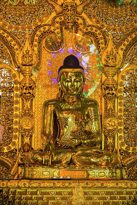Myanmar Yangon Botataung Pagoda Shiny Art Print by Inger Hogstrom