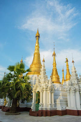 Myanmar Yangon Shwedagon Pagoda Stupas Art Print by Inger Hogstrom