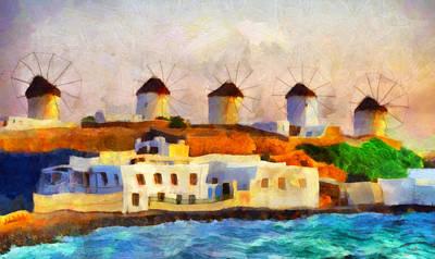 Fantasy Painting - Myconos Island 2 by George Rossidis