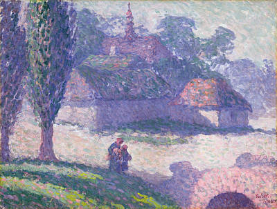 Pointillist Painting - Mydlow Village, Poland, 1907 by Robert Polhill Bevan