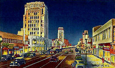 Myer- Siegel Department Store And The Miracle Mile In Los Angeles Ca Around 1940 Art Print
