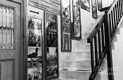 Mykonos Art On The Stairs Mono Art Print by John Rizzuto