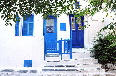 Photograph - Mykonos Blue Doors by Haleh Mahbod