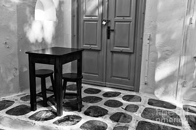 Photograph - Mykonos Table And Chairs Mono by John Rizzuto