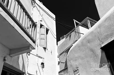 Photograph - Mykonos White Buildings Mono by John Rizzuto