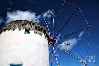 Photograph - Mykonos Windmill Colors by John Rizzuto