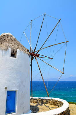 Photograph - Mykonos Windmill by Corinne Rhode