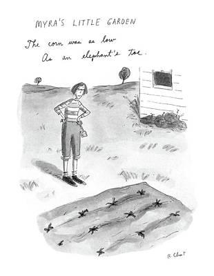 Corn Drawing - Myra's Little Garden by Roz Chast