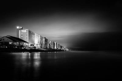 Monochrome Photograph - Myrtle Beach Ocean Boulevard Beachfront by Ivo Kerssemakers