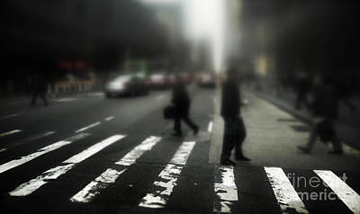 Mysterious Business Men In New York City Crosswalk Print by Amy Cicconi