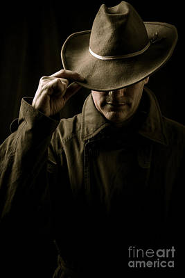 Mysterious Man In Hat And Trench Coat Art Print by Edward Fielding