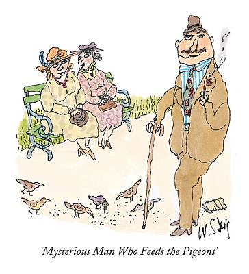 Park Benches Drawing - 'mysterious Man Who Feeds The Pigeons' by William Steig