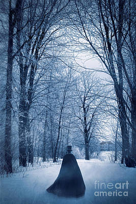 Photograph - Mysterious Man With Cape Walking Through The Snow by Sandra Cunningham