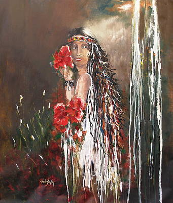 Painting - Mysterious Native by Miroslaw  Chelchowski