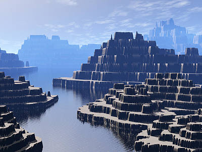 Mysterious Terraced Mountains Art Print by Phil Perkins