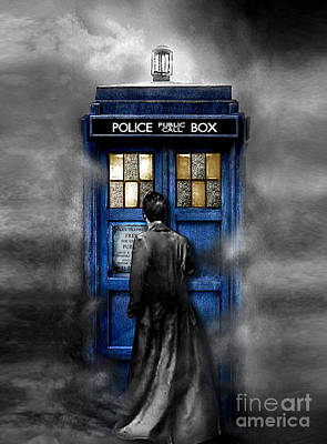 Tardis Painting - Mysterious Time Traveller With Black Jacket by Lugu Poerawidjaja