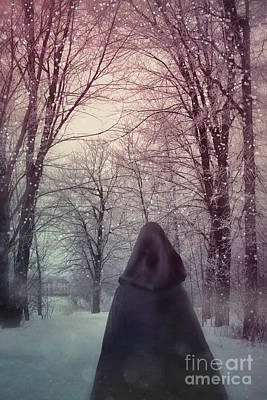 Photograph - Mysterious Woman Wearing Cloak Walking In Snow by Sandra Cunningham