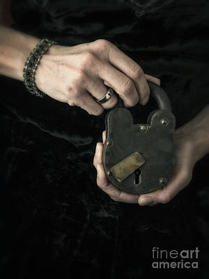 Photograph - Mysterious Woman With Lock by Edward Fielding