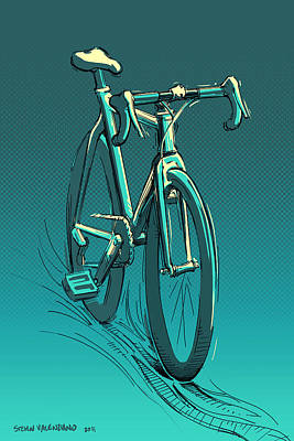 Velo Painting - Mysteriously Standing Bicycle by Steven Valenziano