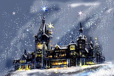 Romania Mixed Media - Mystery Castle In The Snow by April Lily