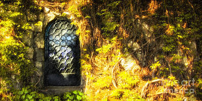 Medieval Entrance Digital Art - Mystery Door In The Forest by Mikhail Golovastikov