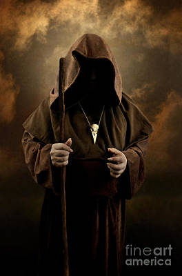 Photograph - Mystery Man Wearing Cloak With Hood Bird Skull Pendant  Holding A Wooden Wizard Staff by Jaroslaw Blaminsky